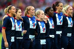 Kelly Smith, far left, has her Great Britain team in the quarterfinals without giving up a goal, but the U.S. should be too much even for the home team.