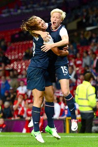 Alex Morgan and Megan Rapinoe (15) celebrate Monday after earning a spot in the final against Japan.