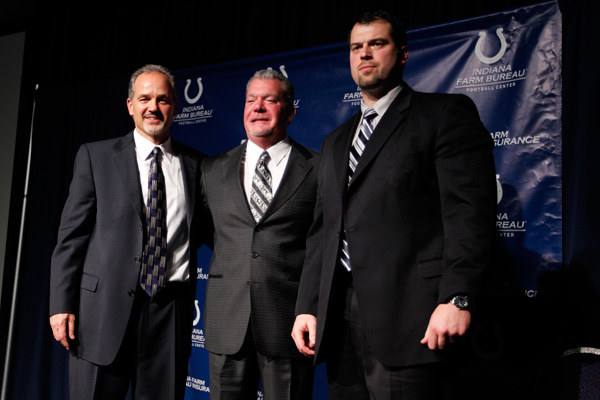 Chuck Pagano and Jim Irsay and Ryan Grigson