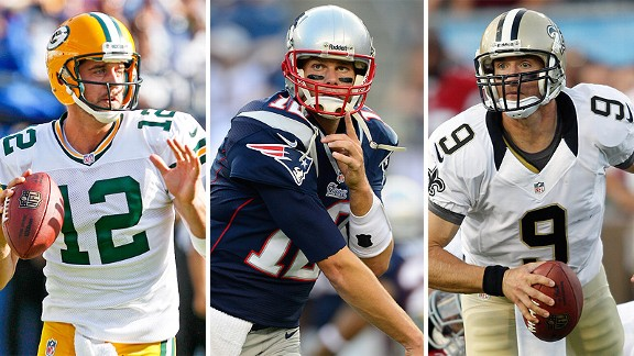 Aaron Rodgers, Tom Brady and Drew Brees
