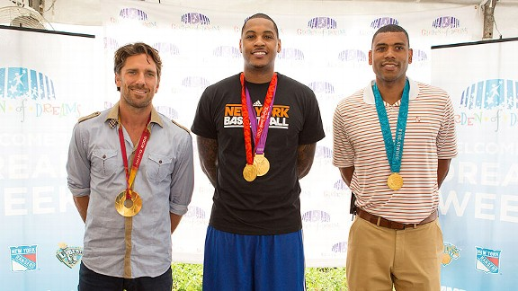 Henrik Lundqvist, Carmelo Anthony and Allan Houston