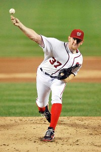 Stephen Strasburg throws a pitch in 2012.