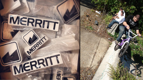 Merritt BMX stickers (left) and Mike Brennan while still on Animal (right).