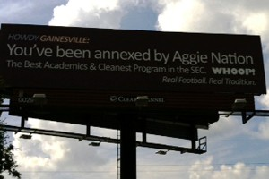 Texas A&M denies any involvement with this billboard displayed in Gainsville, Florida.
