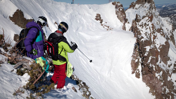 Athletes scout lines at the Kirkwood stop of the FWT last year.