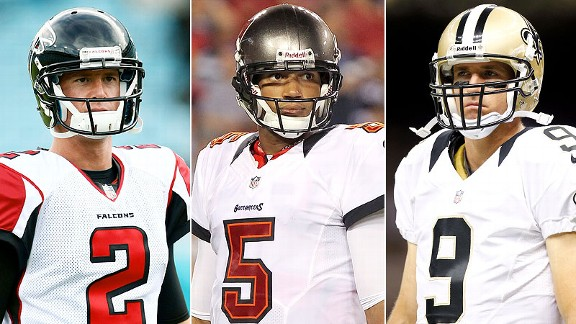 Matt Ryan, Josh Freeman and Drew Brees