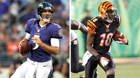 Joe Flacco and A.J. Green 