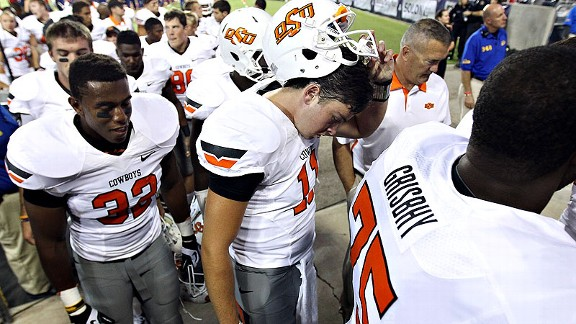 Oklahoma State QB Wes Lunt after a loss to Arizona