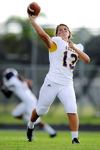 Erin DiMeglio made her season debut as a third-string quarterback for South Plantation High School on Sept. 1.