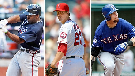 Michael Bourn, Zack Greinke and Josh Hamilton 