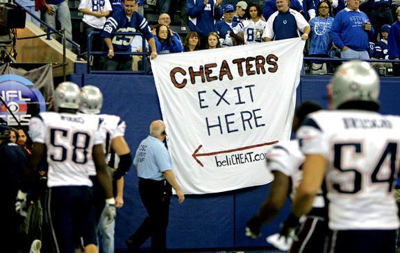 Indianapolis Colts fans mock the New England Patriots and Spygate