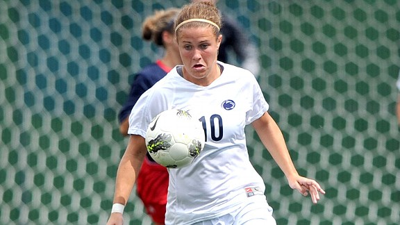 Christine Nairn and her Penn State teammates can get pretty competitive during the heading game at Thursday practices.