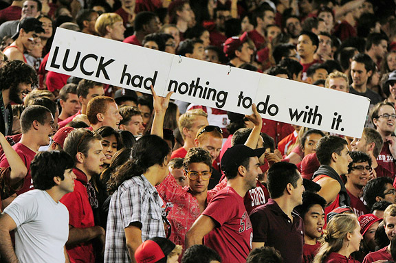 Stanford fan holds up a sign during the USC upset