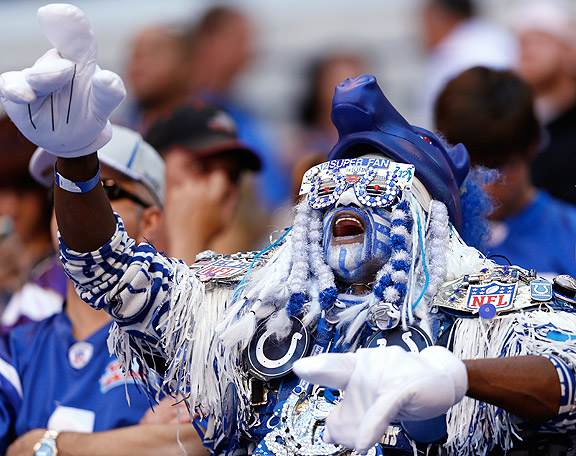 Colts Fan celebrating in picture of the day