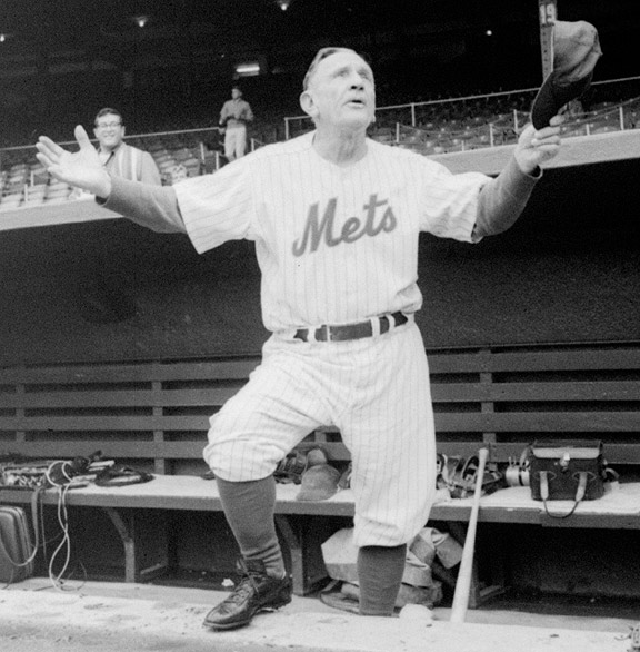 Casey Stengel at the final game at the Polo Grounds