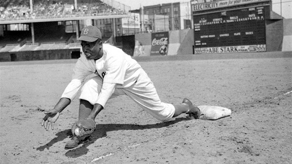 Jackie Robinson at Ebbets Field in 1947