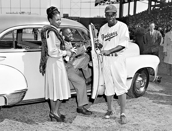 Jackie Robinson accepting the Rookie of the Year award