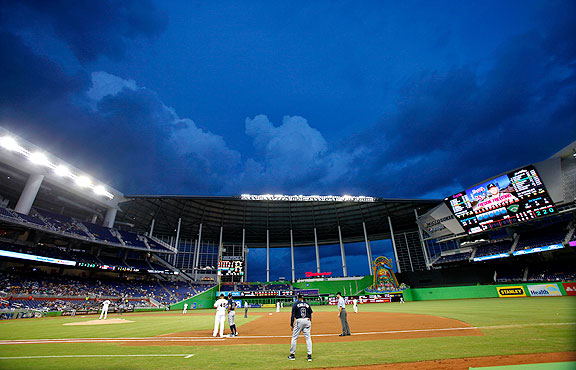 Marlins Park during a Miami Marlins game against the Atlanta Braves