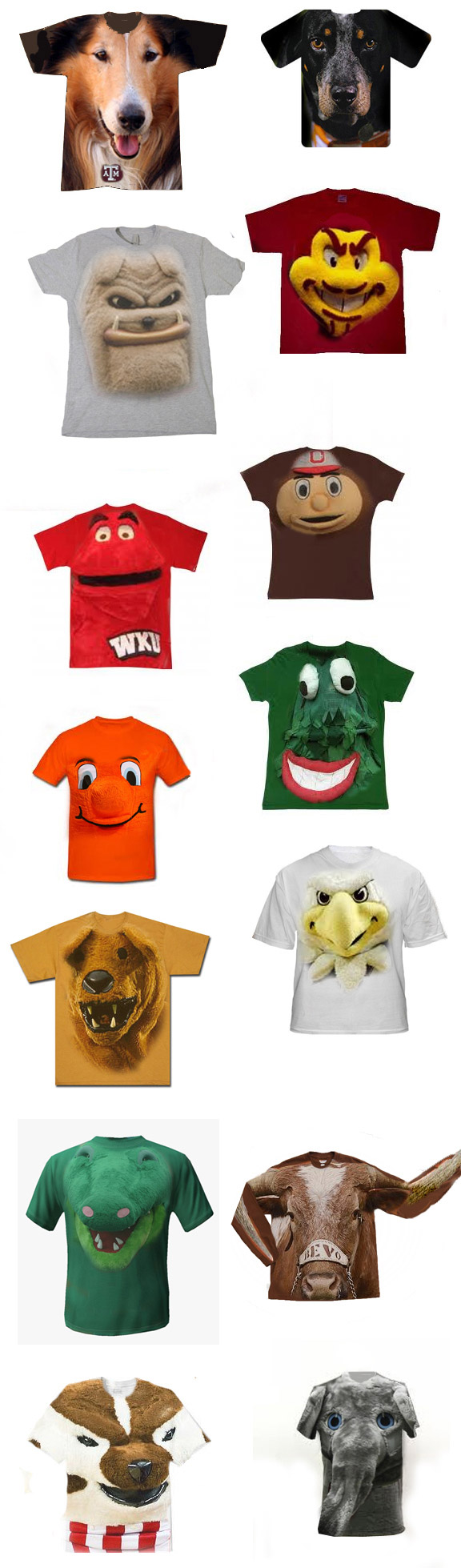 Dog Face T-shirts With College Mascots