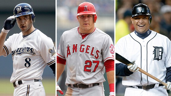 Ryan Braun, Mike Trout and Miguel Cabrera