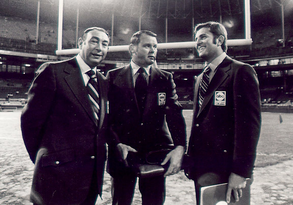 Howard Cosell, Keith Jackson, Don Meredith at the Monday Night Football debut