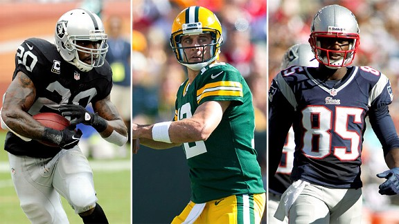 Darren McFadden, Aaron Rodgers and Brandon Lloyd