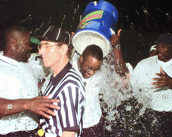 Prairie View coach Greg Johnson getting doused after his team's win