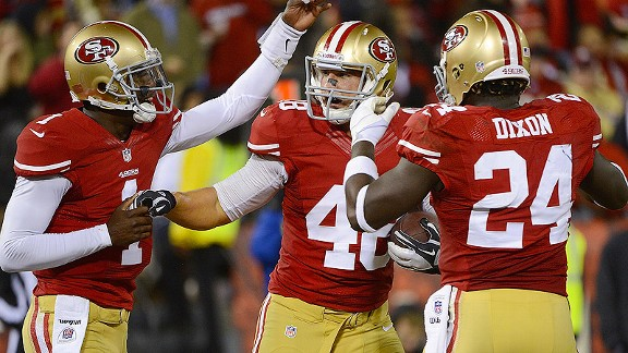 Garrett Celek, center, hasn't played on offense yet this season, but caught the eye of 49ers coach Jim Harbaugh during the preseason.