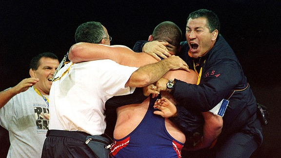 Rulon Gardner celebrating with his camp after winning gold in Sydney