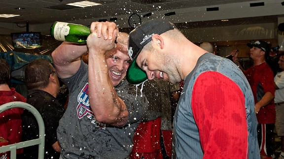 Matt Holliday, Chris Carpenter celebrate making the playoffs in 2011