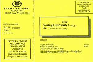 Green Bay Packers waiting list postcard