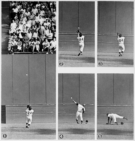 Willie Mays making The Catch at the Polo Grounds