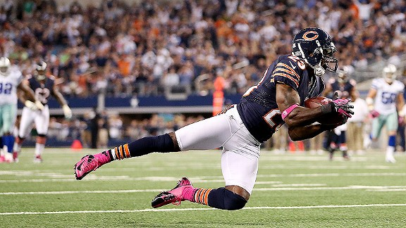 Devin Hester catching a touchdown pass against the Cowboys