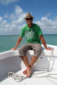 Andre Hartlief in the Caribbean, his other favorite place.