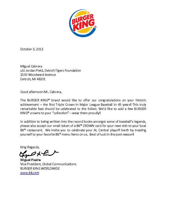 Burger King letter to Miguel Cabrera