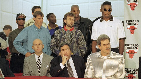 Phil Jackson, Jerry Krause, Scottie Pippen and John Paxson and Michael Jordan's retirement conference