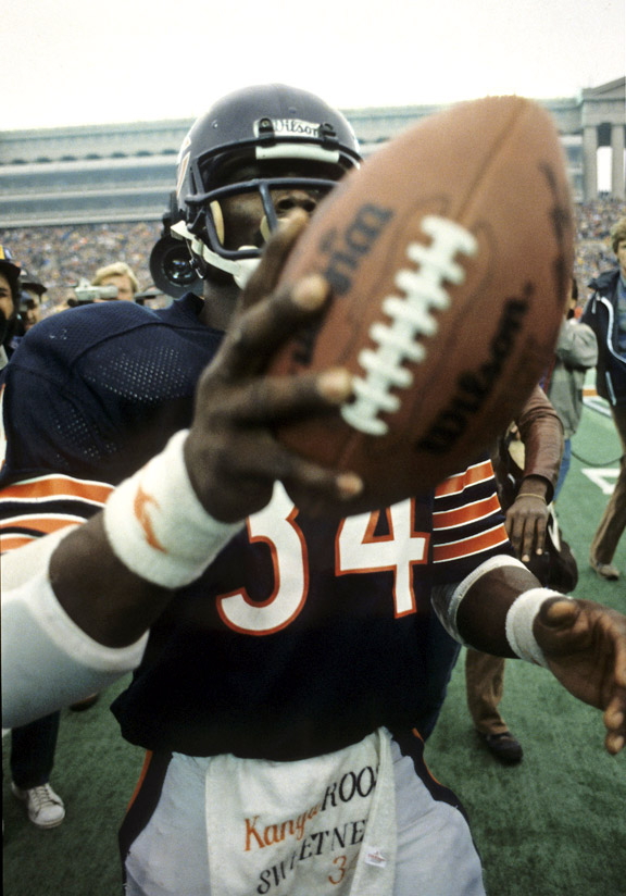 Walter Payton after breaking the NFL's all-time rushing mark