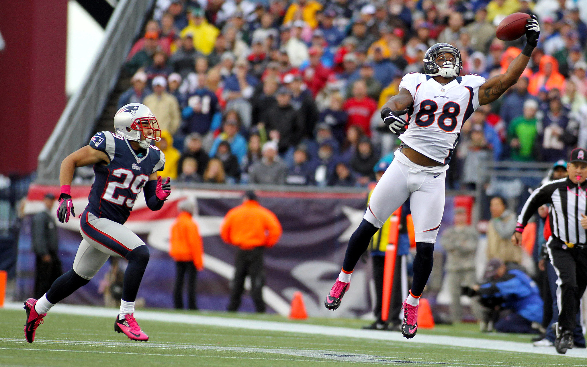 who is the fastest wide receiver in the nfl line broncos patriots