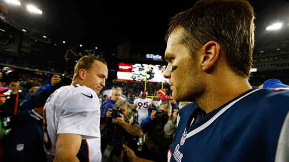 Tom Brady and Peyton Manning after Sunday's game in Foxborough