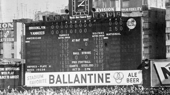 Scoreboard after Don Larsen's perfect game