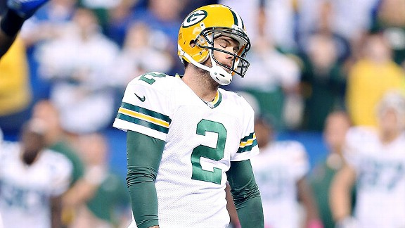 Mason Crosby, missing a potentially game-tying field goal against the Colts