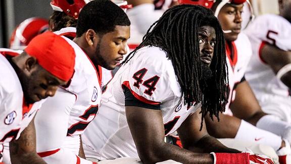 T.J. Stripling and the Georgia Bulldogs wh9ile losing to South Carolina