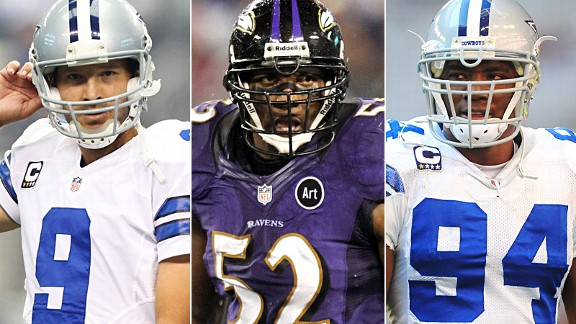 Tony Romo, Ray Lewis & DeMarcus Ware