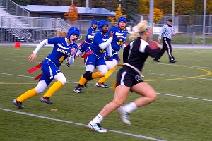 Chugiak and Bartlett high school faced off on the field of Anchorage Football Stadium in a girls varsity flag football game as part of Bartlett's homecoming weekend.