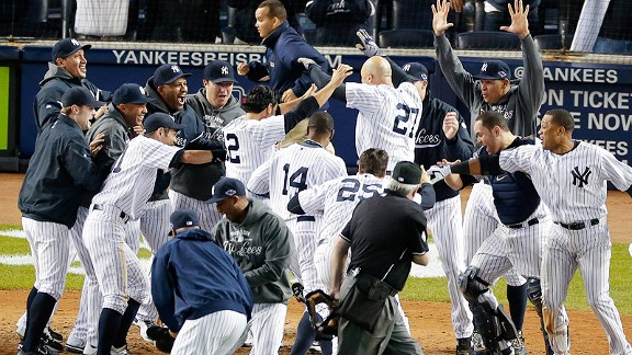 Yankees after Raul Ibanez's game-winning home run vs. Baltimore