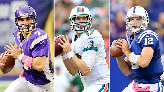 Christian Ponder, Ryan Tannehil and Andrew Luck