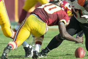 Robert Griffin III has seven fumbles this year. Five happened when he was rushing. 
