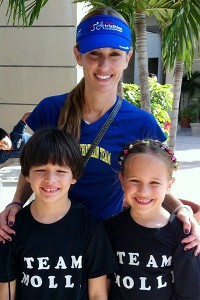 Molli Serrano with her twins, Nick and Ella