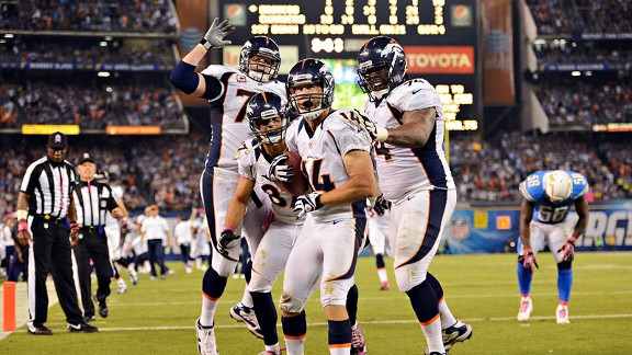 Denver Broncos against the San Diego Chargers on Monday night