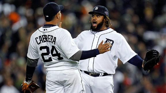 Miguel Cabrera and Prince Fielder after the Detroit Tigers' win in Game 3